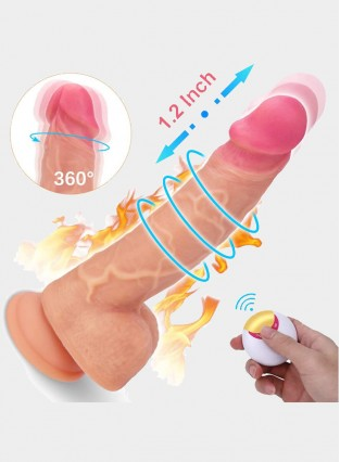 8.1Inch Vibrating Realistic Dildo 360° Rotation Thrusting Wireless Remote Control Waterproof