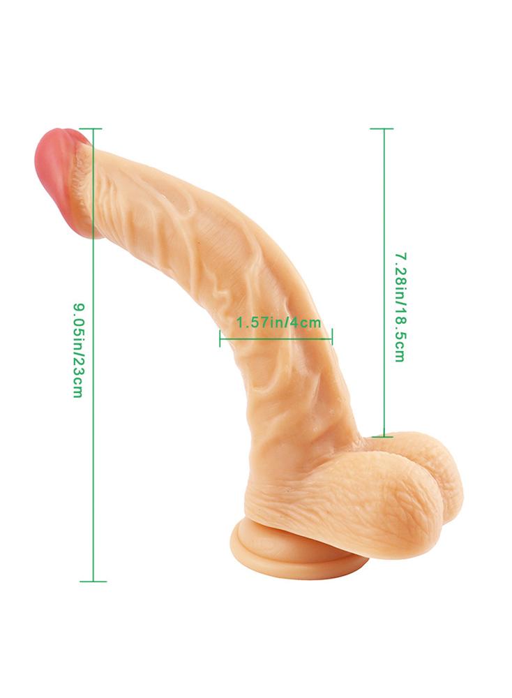 """9"""" Realistic Dong G-spot Dildo Curved Shaft Dildo"""