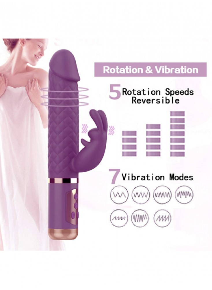 9 inch Rabbit Vibrator 360° Rotating G Spot Clitoris Stimulation Vibrating Dildo For Women Rechargeable Waterproof Vibrator