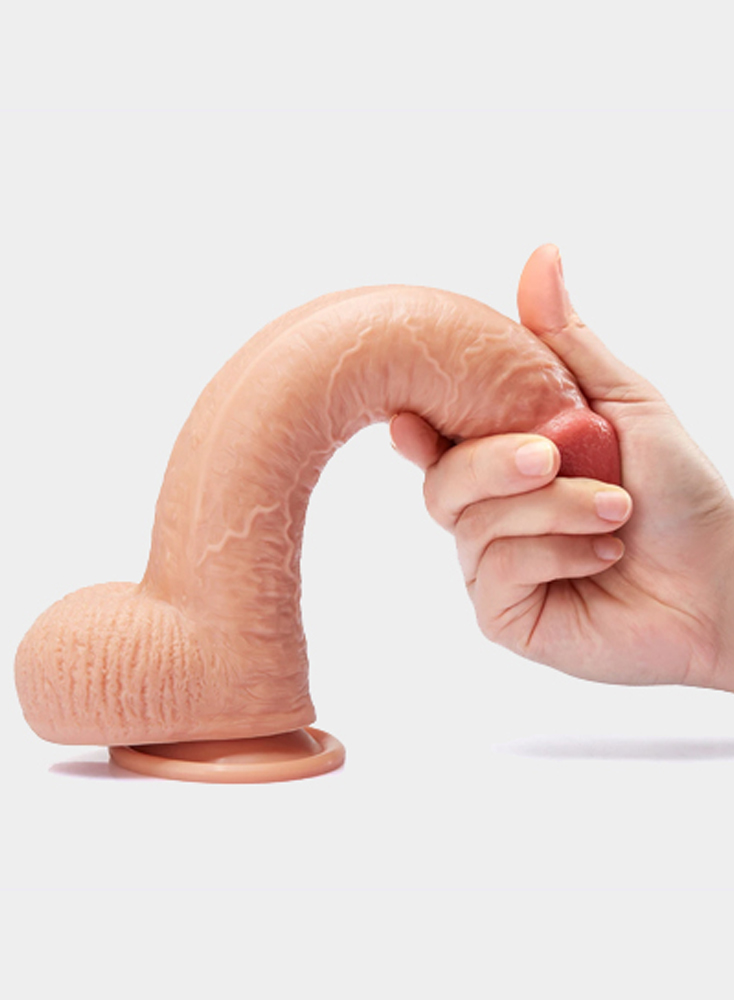 9.1 Inch Realistic Dildo Flexible Penis With Curved Shaft And Balls Strong Suction Cup Hands Free Fun G-spot Anal Play Sex Toys