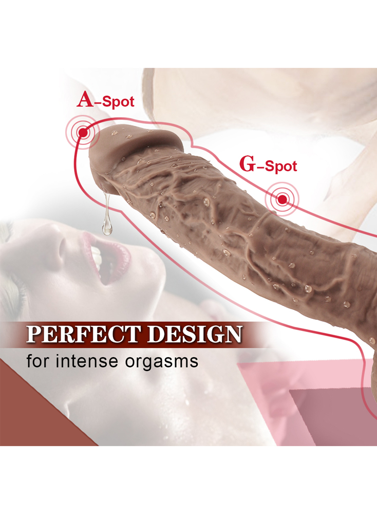 "9.3"" Realistic Veined Texture Dong Brown/Black Dildo Cock"