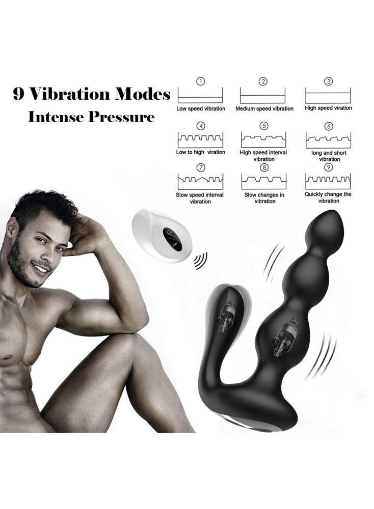 Anal Vibrator Vibrating Anal Beads Prostate Massager With Testes Stimulation Dual Stimulator 9 Speed Vibrating Wireless Remote