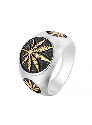 Cannabis Leaf Weed Leaf Men's Titanium Steel Vintage Ring For Weed Party