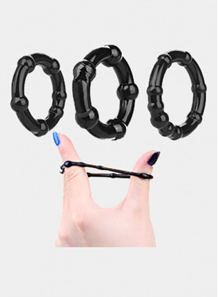3pcs Black Cock Ring Delay Penis Ring Delay Ejaculation Dick Sleeve Erotic Ring Sex Toys For Men