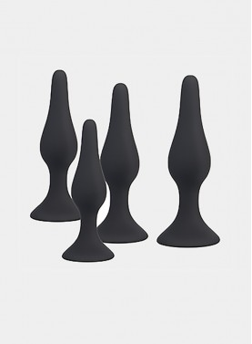 Silicone Anal Butt Plug Black Prostate Massager Adult Products Prostate Massager Set of 4 With Strong Suction Cup for Men