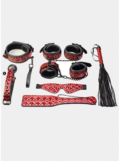 7Pcs/set RED Sex Bondage Set For Adults Couples Porno Sex cuffs Nipple Clamps Whip gag bdsm Sex Collar mask Erotic Toys