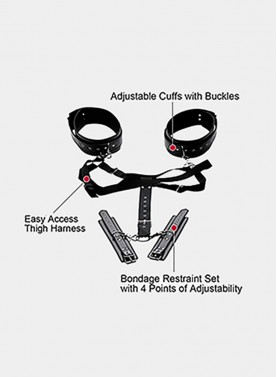 4 Points of Adjustability Easy Access Thigh Harness With Wrist Cuffs