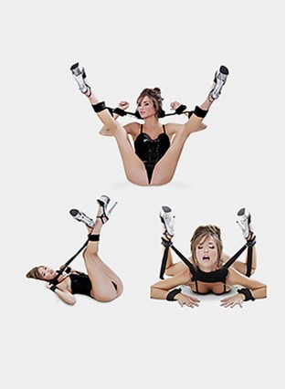 Bondage Restraints Kit with Adjustable Straps Padded Wrist Ankle Cuffs Strong Velcro for Reliable Legsspread Action,PALOQUETH 3 In 1 BDSM Restraints Toy with Comfortable Feather Blindfold Cuffs Flirt