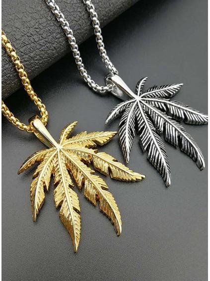 Titanium steel color-plated Jamaican reggae weed pendant
